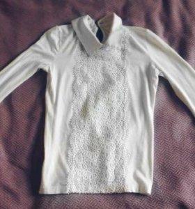 Белая школьная рубашка-кофта