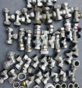 Краны и фитинги металллопласт,заглушки для чугунны