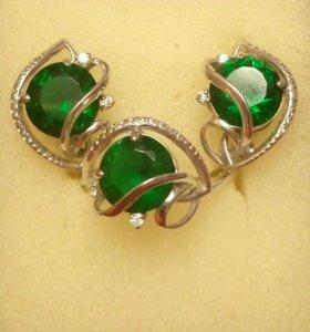 Серьги и кольцо серебро