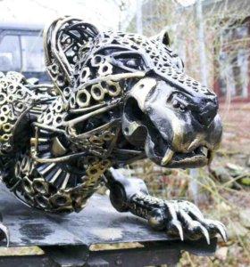 Робот-статуя Гепард из металла,ручная работа!