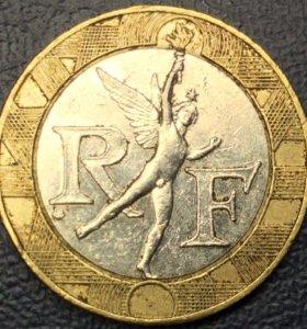 """Монета 10 франков 1990, Франция """"Ангел"""""""
