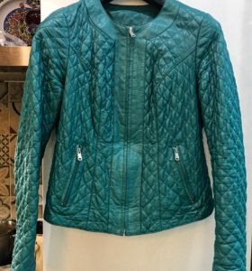 Куртка кожаная женская морская волна стеганая