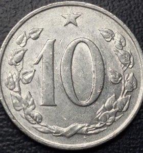 """Монета Чехословакии, 10 геллеров 1968 """"лев"""""""