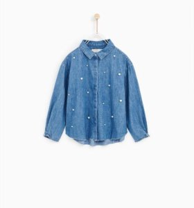 Джинсовая рубашка zara (новая)