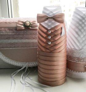 Свадебный сундучок и одежка для шампанского