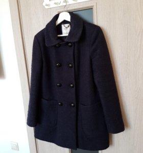 Шерстяное синее пальто ZARA