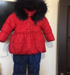 Зимний комбинезон и куртка на девочку 3-4 года