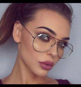 Новые очки с прозрачными стёклами капли авиаторы