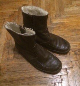 Коричневые утепленные кожаные сапоги