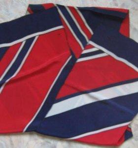 Платок косынка красный белый синий винтаж