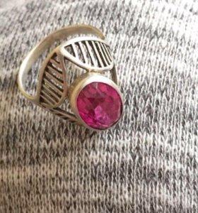 Кольцо камень розовый турмалин🥀