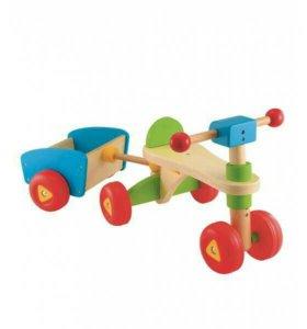 Машинка-каталка с прицепом ELC деревянная