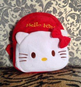 Детский рюкзак плюшевый Hello kitty