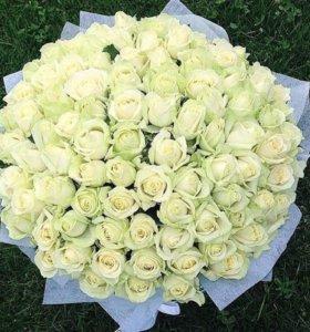 Бело зеленые розы 70 см