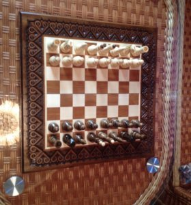 3 в 1 Шахматы,шашки,нарды ручной работы,