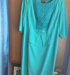 Платье. Цвет морской волны. Со стразами. Размер 52