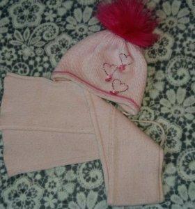 Шапка,шарф,2 варежек