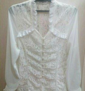 Белая ажурная блуза р.46