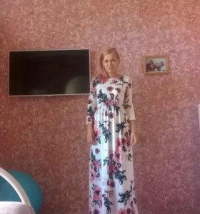 платье новое в пол с цветочный принтом