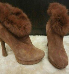 Женские ботинки, полусопожки, натуральная замша,