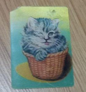 календарик переливающийся кошка 1981 СССР