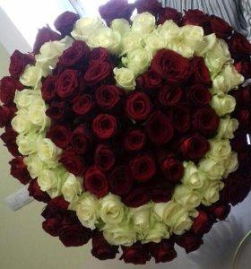 Букет сердце 101 роза - Доставка 24 ч