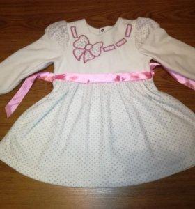 Платье (1-2,5года) велюровое. Теплая одежда 86-92