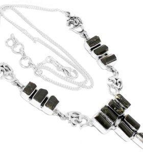 Колье, браслет, серьги; серебро, черный турмалин