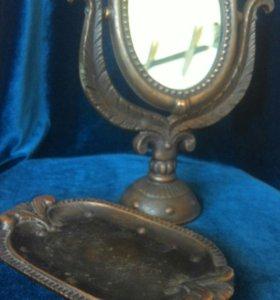 Настольное винтажное зеркало с подставкой