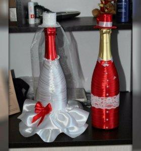Оформление свадебных бутылок и бокалов