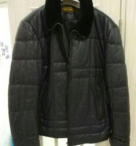 Зимняя кожаная куртка, размер 56