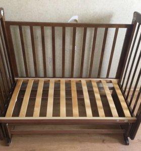 Детская кроватка маятник поперечный + матрас
