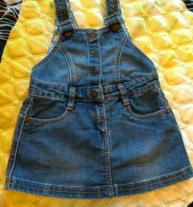 Джинсовая юбка на лямках