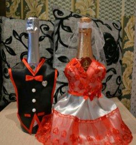 Украшение на свадьбу для шампанского