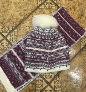 Комплект зимний, шапка+ шарф