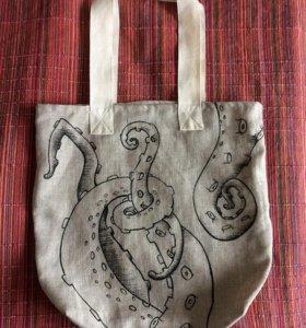 Эко сумка из льна с авторской ручной росписью