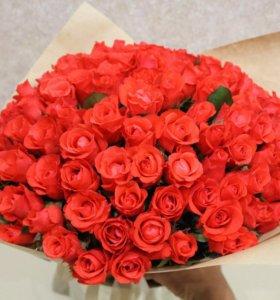 Цветы букет роза 101