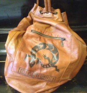Кожаный рюкзак,handmade