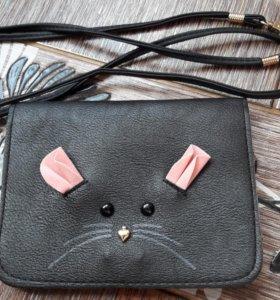 Кожаная сумка / клатч для девочки