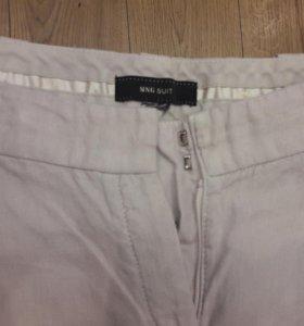 Брюки из льна, летние, легкие, белые штаны