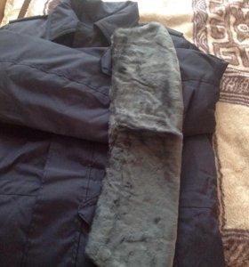 Куртка тёплая с меховым воротником и двойной подст