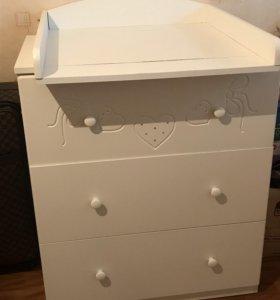 Детская кроватка и пеленальный столик( комплект)