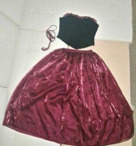 Комплект из длинной юбки и корсета