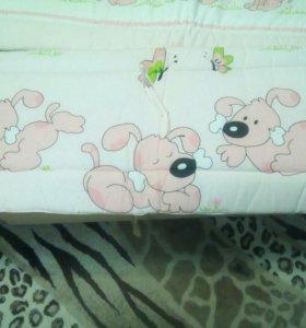 Детский комплект на кроватку (розовый с белым)