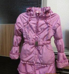 Розовое пальто для девочки 7 - 10 лет