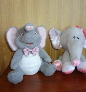 Мягкие игрушки слоники и подарок