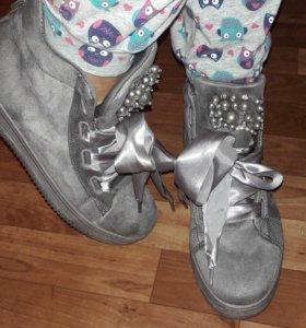 Ботинки кеды замша кроссовки бархатный туфли