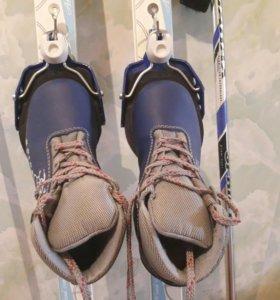 Лыжи детские + ботинки + палки