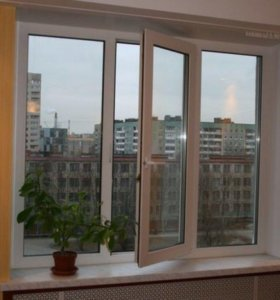 Трех створчатое окно ПВХ