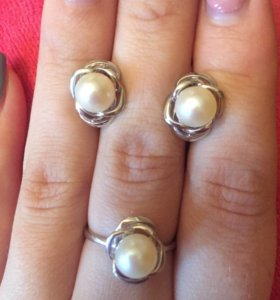 Комплекты из серебра с жемчугом